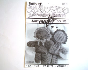 JOLLY DOLLIES Crochet Pattern Bouquet Softee Tutti Frutti Dolls Dolly Children Kids Vintage Crochet Crafts Pattern Leaflet Boys Girls