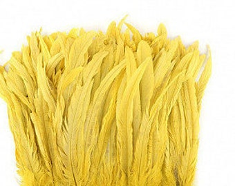 """Rooster Coque Tails Bleach Dyed Yellow Feathers - 12""""-14"""" inches."""