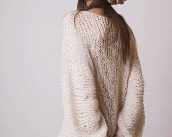 Oversized sweater, off white clothing, loose jumper, grunge alpaca knit, soft hippie sweater, winter knitwear, slouchy pull, gift for her