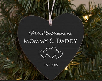 Our First Christmas as Mommy & Daddy Personalized Christmas Ornament New Parents Ornament New Baby Ornament