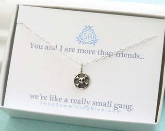 Best Friend Gift • Tiny Skull & Crossbones Necklace • BFF • Gang Of Two • Tough Girls • Skull Pendant • Badass Girls • Jolly Roger • Pirates