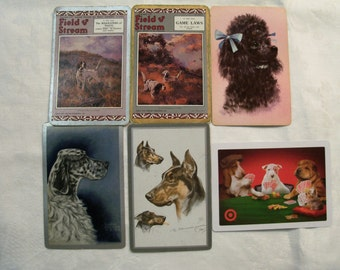 12 Playing Cards,  Playing Card Swap, Dog Playing Cards, Playing Card Lot, Poodle, Retrievers