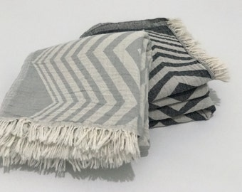 set of 2 turkish towel, yoga towel, peshtemal, turkish beach towel, bath towel, zigzag beach towel, grey Turkish towel
