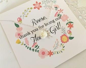 Personalized Flower Girl Necklace | White Flower Girl Necklace | Flower Girl Necklace | Gift For Flower Girl | Flower Girl Invite