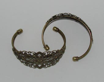 3 open stiff filigree antique bronze flower bracelets