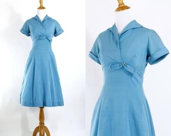 Vintage 1950s Dress | 50s Blue Cotton Party Dress | Teal | S M