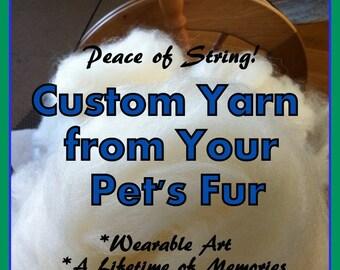 Pet Fur Yarn, Handspun ART Yarn, dog, cat, rabbit, hamster, guinea pig, knit, crochet, weave, felt, craft, animal, gifts, keepsake