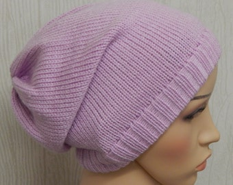 Knitted cancer beanie, slouchy hair loss hat, winter hat, hair loss head wear, chemo cap, knit slouch hat beanie, CHOOSE COLOUR and SIZE