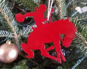 Cowboy Bronc Rider Metal Christmas Ornament Christmas Decor.  Christmas Tree Decor.  Stocking Stuffer