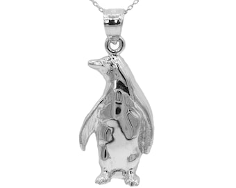 14k White Gold Penguin Necklace