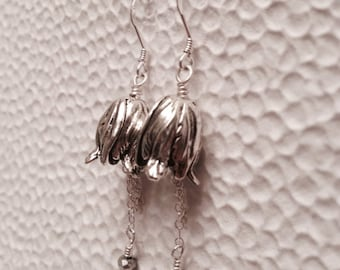 Antique Silver Dangle Tulip Earrings