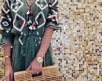 Midi khaki dress with multicolor Ukrainian geometric embroidery - 100% linen- Ethnic boho dress tunic - Modern folk abaya kaftan - vacation
