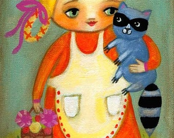 Woodland RACCOON girl PRINT from folk art original painting by tascha
