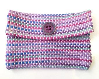 Purple Multi-Colored Clutch // Handwoven Purse // Wallet Weaving