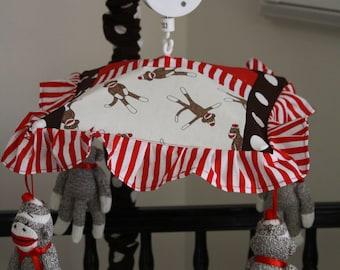 sock monkey patchwork crib mobile musical