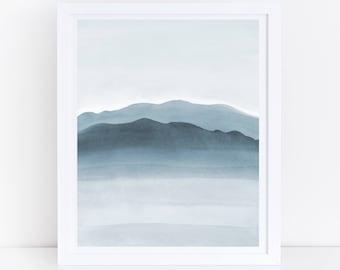 Blue Mountain Print, Printable Watercolor Art, Blue Wall Art, Blue Abstract Art, Bedroom Wall Print, Blue Decor, Tranquil Print, Minimal Art