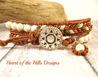 Copper Double Wrap Leather Bracelet, Silver Sunshield Button Closure, Beaded with Czech SuperDuo and Flower Charm
