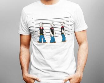 New Funny Men T-shirt Inspired Popeye Mugshot Joke Gift