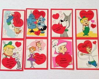 Vintage Valentine's Day Cards - Lot of 8 - 1980s The Jetsons Valentine Greeting Cards - Unused Jetson Valentines for the Classroom by Cleo