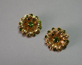 Vintage Olive Flower Earrings