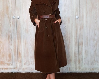 Vintage trench coat,Unisex trench coat,Brown trench coat,Cotton trench coat,Long trench coat,70s trenchcoat,Conduroy trenchcoat,Trend trench