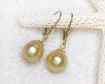 Authentic Golden Pearls & 14KT Gold Filled Earrings, 9-11MM Baroque Golden pearl In Gold Filled Level Back Earrings, SouthSea Pearl Earrings
