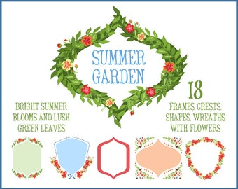 Floral Wreath, Frames, and Crest Clip Art Perfect for Monograms, Stationery, and Weddings | Includes Vector Eps File