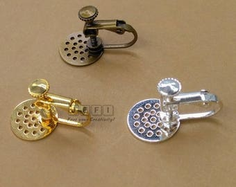 20 Brass Screw-on Earring with 12mm Round Pad for Gluing or Sewing Antique Bronze/ Silver/ Gold/ 14K Gold