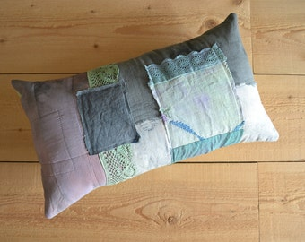 grey sage rustic boro patchwork lumbar pillow cover - hand dyed cushion cover - shabby home patchwork pillow with doilies and trims
