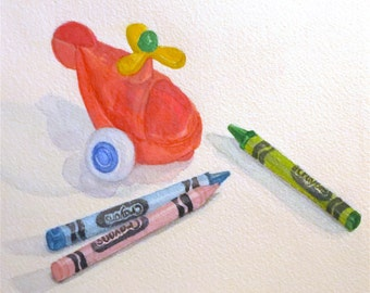 Original Watercolor of a Toy Helicopter and Crayons