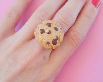 Chocolate Chip Cookie Ring, Miniature Cookie Clay Food Ring Fake Food Jewelry Adjustable One Size, Kawaii Food Jewelry Make Believer Cute