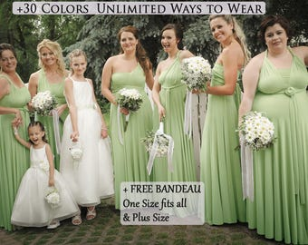 Sage Green infinity dress, Bridesmaid dress, prom dress, twist dress, convertible dresses, cocktail dresses, multiway dress