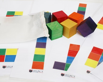 Rainbow Building Blocks, Wooden Block Patterns, Building Block Set
