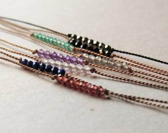 tiny GEMSTONE wish bracelet, tie on bracelet, silk bracelet, intention bracelet, friendship bracelet, gemstone bracelet, wish bracelet