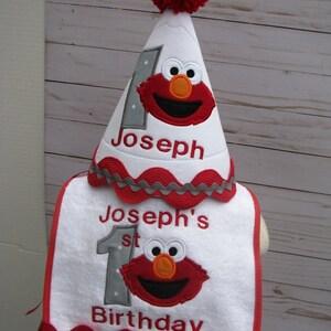 first  birthday elmo hat and bib set free personalization, 2nd birthday party hat, smash cake hat, birthday hat