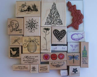 Lot of 24 New and Gently Used Rubber Stamps