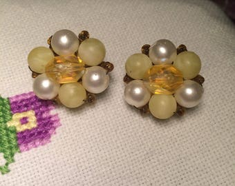 Yellow and white cluster clip-on earrings signed Hong Kong