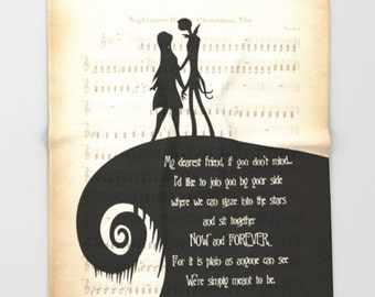 "The Nightmare Before Christmas Soft Fleece Throw Blanket Jack and Sally Throw Blanket ""My dearest friend"" Quote Throw Blanket Made To Order"