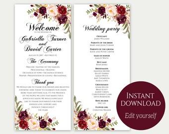 Wedding Program Template, Ceremony Template, Wedding Program Printable, Order Of Ceremony, Editable Wedding Program, Download PDF, Marsala