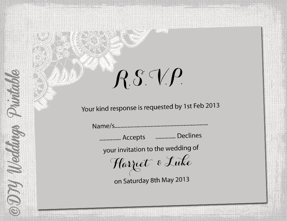 Wedding RSVP template download DIY Silver gray Antique