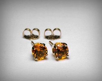 14K Genuine Citrine Stud Earrings, Genuine AAA Citrine Earring Studs, 14K White & 14K Yellow Gold, Topaz Color, November Birthstone Earring