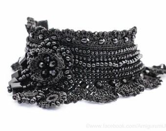 Black Crochet Bracelet Cuff. Beaded Crochet Bracelet. Freeform Crochet Bracelet Cuff. Crochet Jewelry. MADE TO ORDER