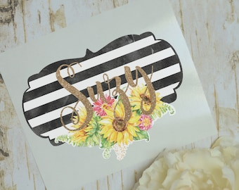 Striped Sunflower Monogram Decal, Sunflower Decal, Watercolor Flowers, Glossy and Glitter Monogram Sticker, Tumbler Decal, Printed Decal