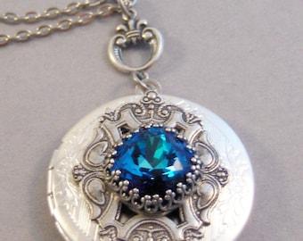 Stardew,Sapphire,Sapphire Locket,Blue Topaz,Locket,Antique Locket,Silver Locket,Blue Locket,Blue Necklace,Mermaid,Blue, Valleygirldesi