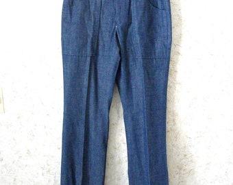 Vintage 60s Levis Big E Sta Prest Cotton Denim Jean Slacks Pants 1960s Mod Retro Talon Zipper Repaired Pants Hippie Mens 32 x 34