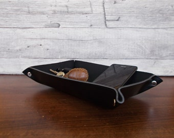 Decorative bowl, Desk organizer, Catch all, Tray, Home decor, Valet tray, Caddy, Office decor, Key holder, Organiser, Black vegan leather