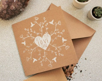 Let Your Love Grow - Valentine's Day Card with Wild Flower Seeds - Hand Printed Recycled Card - Eco Greetings Card - Gardener Birthday Card