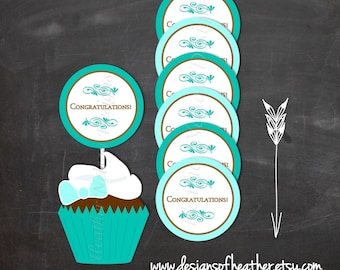 Teal and Brown Congratulations Digital Circles- Tags, Stickers, or Cupcake Toppers