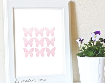 Butterfly art print, Pink nursery decor, Butterfly printable wall art, Girl room decor #0049P