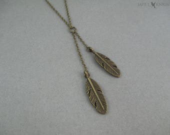 Bronze Feather Charm Lariat Necklace